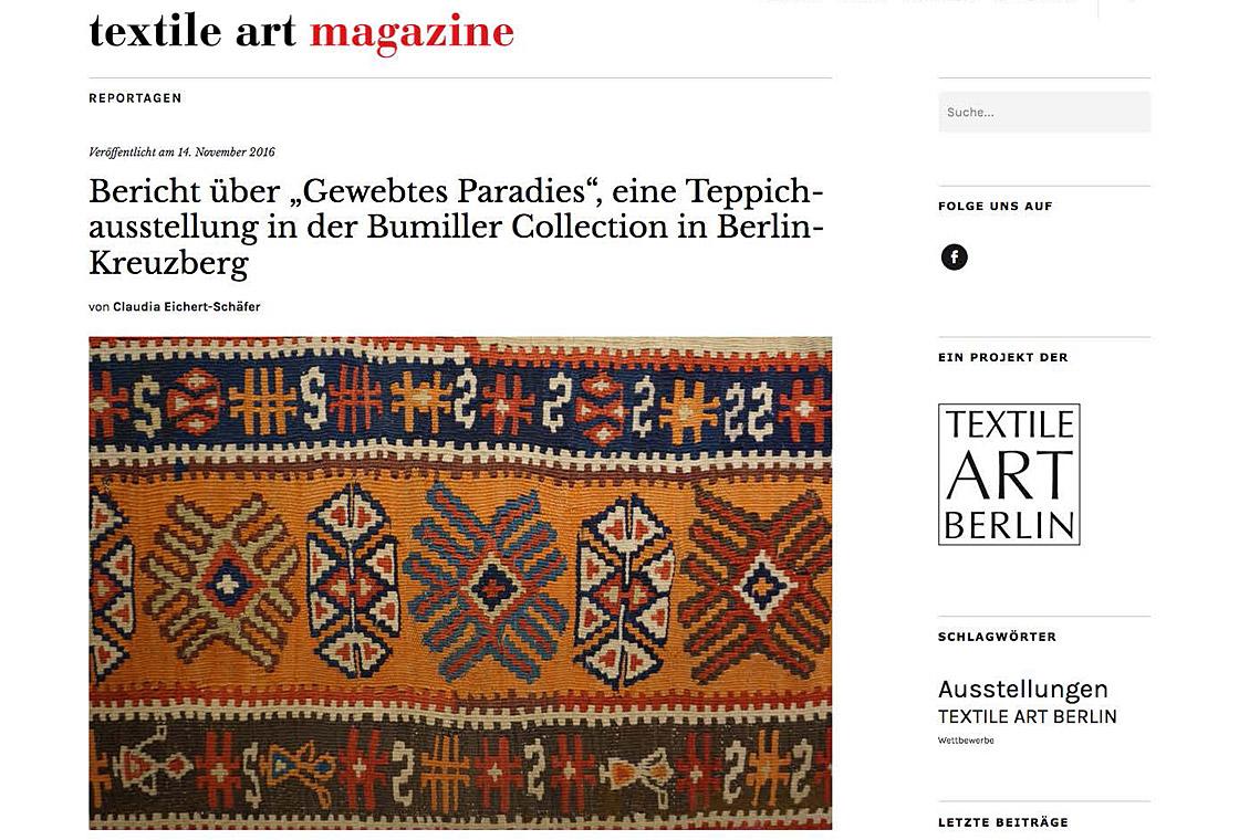 press article of the textile art magazine