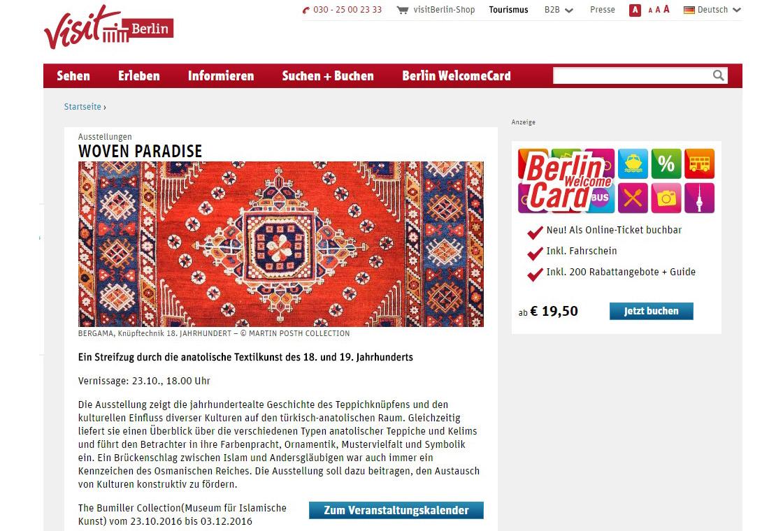 press article of the web portal visit Berlin