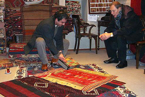 Martin Posth selecting Turkish and Anatolian rugs